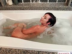 Jada is relaxing in the tub, waiting for her husband to get home. He walks in the bathroom, and is greeted by the triple-play of awesomeness. She gives him a smile, a blowjob, and some pussy. What a greeting!