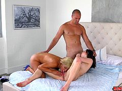 She was supposed to be in bed, but instead she was outside her mom's bedroom, masturbating. She even went inside and played with her clit, while her hot mom was fucking her man. Once she was caught, she was invited to get fucked and suck cock, too.
