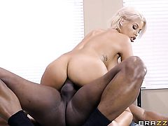 Prince Yashua has unforgettable oral sex with Blonde Bridgette B with huge boobs before she gets fucked in her butt