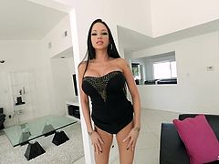 One look at Raven and you almost think she's too pretty to be on her knees, getting cum shot on her face. Then, you realize that she's perfect for it, and you watch as she sucks my dick, and uses her tits in the process of getting that creamy result.
