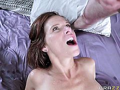 Milf Lucas Frost with gigantic tits gets her back door opened by anal intruder