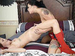 Redhead chicana and Gina Valentina bares all and then take care of each others lesbian wet fuck hole