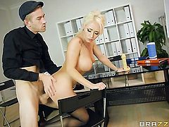 Blonde Christina Shine with massive tits is on the way to orgasm with Danny Ds stiff worm in her slit