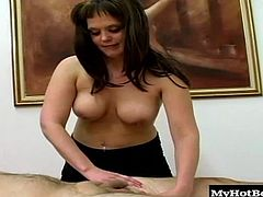 Melanie is a brunette masseuse with a belly piercing, who is giving some stranger a back massage but, he rolls over and demands a happy ending so, she removes her shirt to expose her giant, natural knockers, while she reaches down and grabs his little dick, stroking it at different speeds, until she finally gets him to give her a fizzled down, thick cumshot.