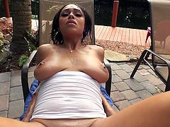 Visit official Mofos Network's HomepageEbony woman, with perfect boobs and curvy ass, bends by the pool and starts moaning when her man getting ready to penetrate her ass