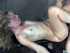I was cheating on two guys. One day they caught me and punished. They tied me on a bondage device. One was deepthroating me, while the other was slapping my tits. One sat on my face, while the other was biting my nipples. They stuffed my holes together.
