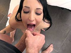 Liz Rainbow wants to swallow after such a heavy porn show