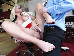 Milf with juicy knockers takes meat pole in her deadeye
