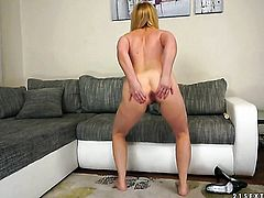 Blonde takes dudes cum loaded pole in her hot mouth