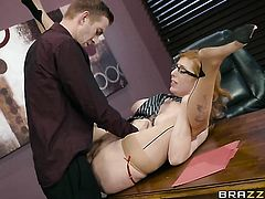 Redhead Lauren Phillips with juicy boobs feels the best feeling ever with Danny Ds stiff meat stick