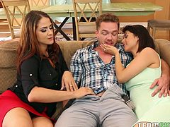 Two families gathered together in a big house for a swinger party. But unfortunately, Penelope's husband was very tired after work and snoozed on a couch. It was a real luck for the other guy, he got two beautiful and horny babes just for himself. They've sucked his big cock by turns...
