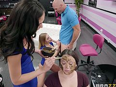 Britney and Ariana are serving to Johnny's wife, who is getting her spa day today. The ladies take turns with her and her husband, unbeknownst to her, of course. On the sly, the ladies take turns sucking that long dick, while his wife is completely oblivious to what's going on.