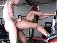Redhead Skin Diamond with bald cunt slowly sucks the head of her Cody Skys ram rod