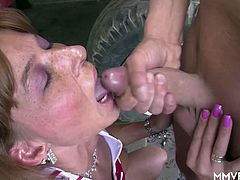 Sexy brunette mature with big tits enjoys being slammed hard by her husband. Hot gal with tattoos loves spreading her legs and having her wet pussy deep penetrated by a big cock as she is enjoying herself enormously.