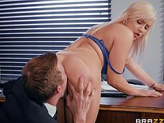 If Kylie finds herself in intense competition for a job, she pulls out all the stops. She masturbates, while waiting for Danny to come in, knowing he'll see her pussy and be distracted. Not that her tits don't do that, already. Looks like it worked again!