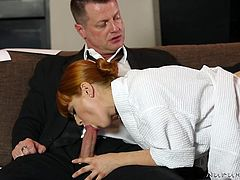 This busty redhead knows how to make men cum so hard, and that's why she is the most requested at this massage parlor. She lathers up her man and tugs his hard penis, until he is on the edge, but she won't let him cum yet. The massage is just getting started.