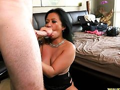 Asian Lucky Starr gets turned on then face drilled by Levi Cash