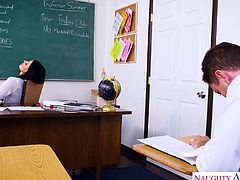 My teacher was using vibrator in the classroom and I recorded this on my mobile. Not only good grades, I also got a chance to fuck her in return of video. We kissed, while she was rubbing her hand on my dick. She got on her knees and sucked my erected penis, before I fucked her on the table. Must watch!