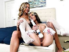 Brunette Jeanie Marie gets her honeypot licked by lesbian Brianna Ray in a wide variety of positions