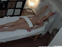 Usually, it's guys you hear about getting happy endings at spas. Well, the ladies love it as well, as you can see in the video below. This blonde sweetie gets her rubdown, then gets herself a good dicking.
