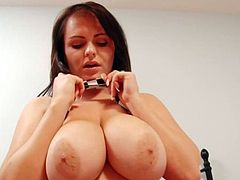 Brunette s favourite pastime is sqeezing her huge bouncy tits mpeg4