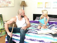 Blonde stunner Jmac eats dudes meaty rock hard meat pole like crazy
