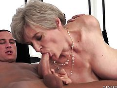 Mature with juicy melons gets the hole between her legs rammed by hot guy