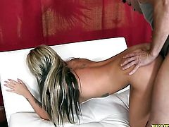 Blonde Nikki Blake with smooth twat cant live a day without touching her honeypot