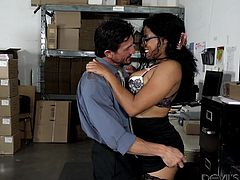 She just took a job at a warehouse, and she was enjoying it. However, she made all the men around her horny, because she had big tits. Tommy wanted to face fuck her and bend her over, to fuck her from behind.