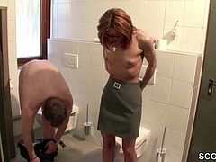 German Redhead MILF fucked At Work by a Stranger