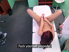 You'd think it a totally impossible task, but our doctor is getting to the root of Jessica's tension. She needs to cum, and her man at home isn't doing it. Being a bit sheltered, she now discovers toys and what they can do for her pussy and her ass. We think she'll be gentle now.