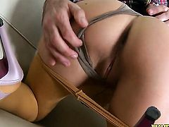 Redhead sex kitten Kitty Black gives double handed handjob