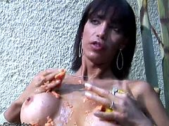 Marcela Ramos has sensuous eyes that beg you to follow her into the bedroom to find out what she is doing. She grabs a big juicy papaya and will press her naked body against it as it begins to...