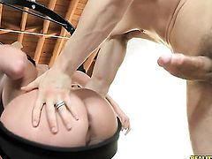 Brunette Sophie Dee with huge hooters and shaved muff and hot guy Erik Everhard