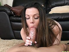 Brunette loves her fuck buddys sausage in this handjob action