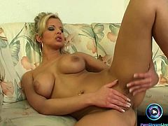 Glamorous Danielle, the fantastic blonde with huge tits and bouncy butt is here again to gave you a glimpse of her wonders and here she is on the living room all naked and been waiting for a dick to fuck but she cannot wait for her fuck buddy to come.