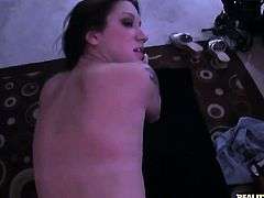 Brunette finds it exciting to be face fucked by Romeo Price in front of the camera