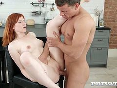 Horny guy fucks yummy red haired chick Lili Fox and licks her tasty cunt
