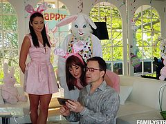 While family is busy taking selfies, Avi Love is busy playing with Mr. Bunny's big cock! She was not interested in celebrating, but this stud pulled something out of his rabbit suit, that managed to convince her.