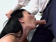 Dirty babe drives cock in both holes during extreme office shag