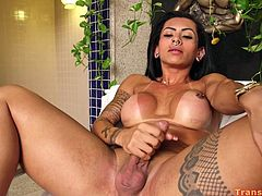 What latina tranny Isabelle Ferreira could do when there is no dick around? Sure, she has her favorite dildo for this case! Isabelle is absolutelly all-sufficient and she could satifsy herself everytime and everywhere.