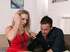Blonde goddess cant resist guys sturdy meat stick and takes it in her mouth