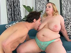 A guy sucks on sexy, blond plumper Nikky Wilder's tits, and then she blows his fat cock. She takes the dick in her pussy and gets fucked in several positions before the dude cums on her tits.