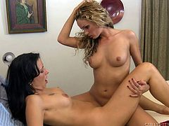Hot MILF Zoey Holloway can't abandon herself to lesbian pleasure, fortunately her friend Prinzzess knows how to make her relax. She blindfolds this hot lady and begins massaging her pussy with her fingers and tongue. Once they're both wet and horny there's no need to hide, time to cum hard!