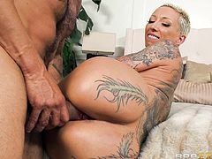 Fantastic tattooed milf with an amazing big booty enjoys being fucked by Karlo Karrera. His long hard cock drills her tight asshole from behind, as she is out of her mind with how wonderful it feels. Relax and enjoy impetuous sex action!
