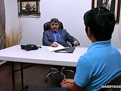 George is trying to get hired on at Daddy Mikes company. But hes totally unqualified on paper. But Daddy Mike has other ways of qualifying cute Asian gay boys. This interview turns horny when George says hell do anything for the job. Soon Daddy and twink are naked and fucking on the desk