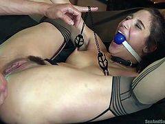 He pinched her sensitive nipples with clamps and shoved his hard dick in her tight ass hole in one go. It was so painful, but her screams were muffled with a ball gag put in her mouth. Next time Abella will be more obedient with her lover. Enjoy hardcore BDSM fantasies!