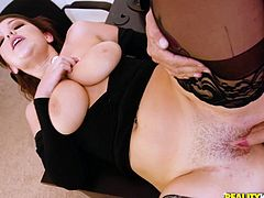 This bored housewife is desperate for somebody to fuck her! Any volunteers? Thankfully Sean Lawless step up to the plate and gives her the hard fucking that she's been craving. Would you like to fuck her next or just rub your cock between her huge tits?
