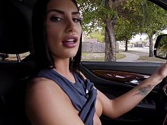 Stunning Canadian gal August Ames flashes her perfect round boobs. She needed my cock as she was going for a drive and jacked me off in her truck. When we got home, she showed me her sweet booty. I fingered her cunt hole and she sucked me off in between the stairs. She needs my cum right now.