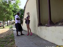 Round ass blonde Erica tries threesome fucking with black men. She gets pounded hard by big black cocks...